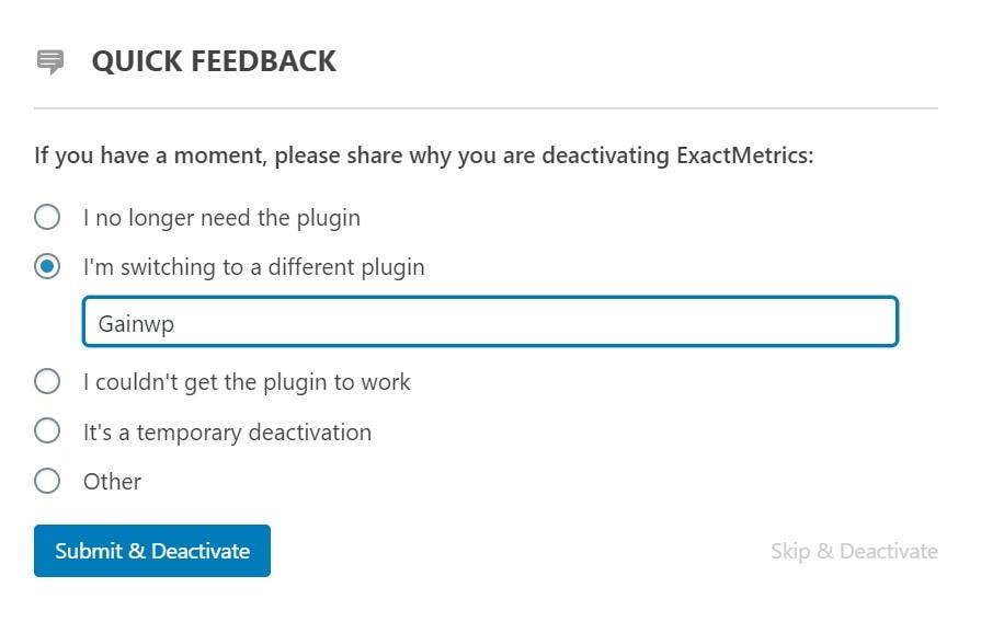 exact metrics feedback