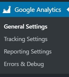 gainwp google analytics menu item